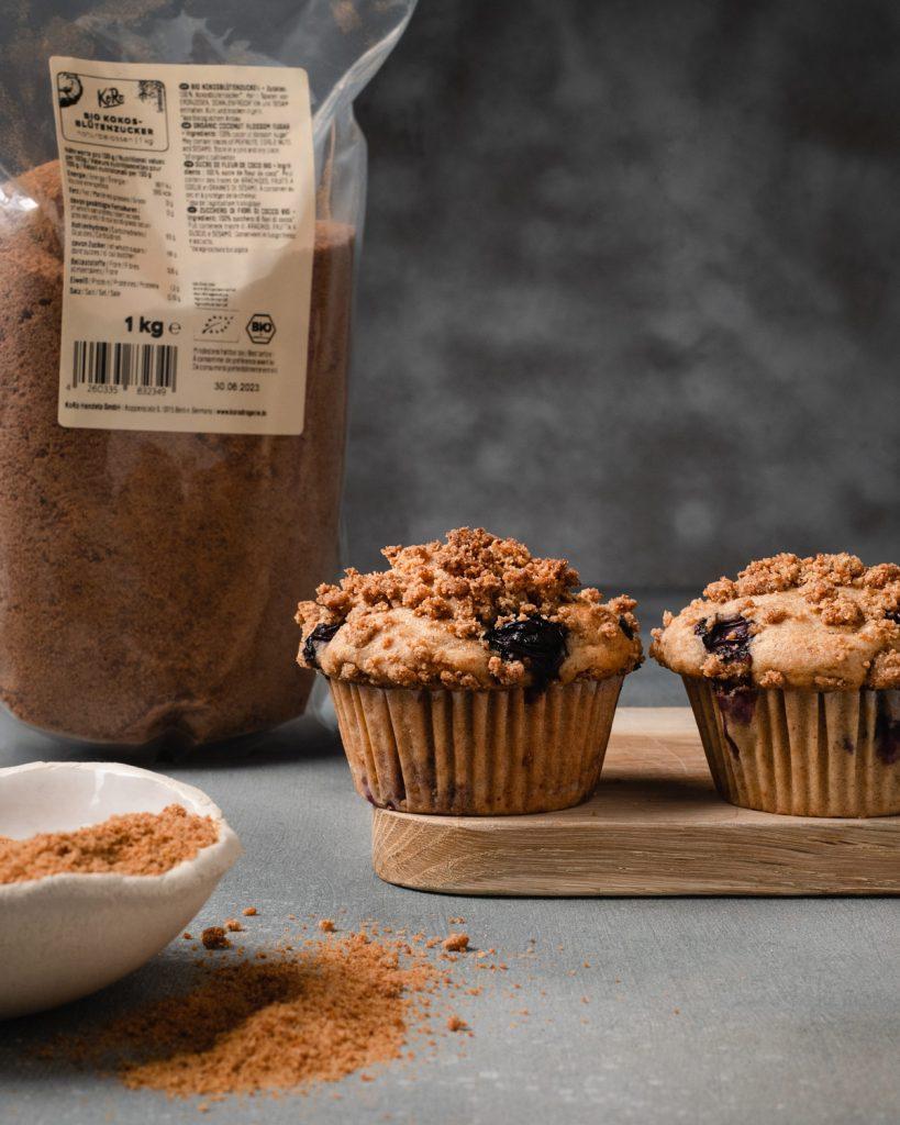 Muffins vegani con mirtilli e streusel